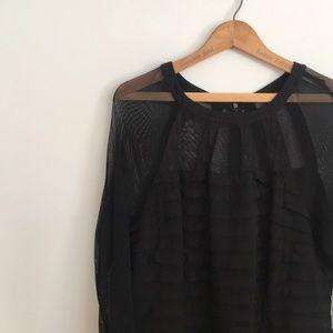 Adrianna Papell Matte Black Jersey Sheer Dress 16